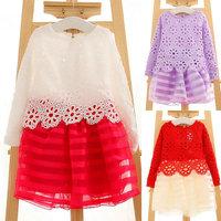 Kid Gilrs Ripple Stripe Organza Dress Hollow Lace Floral Long Sleeve Dress