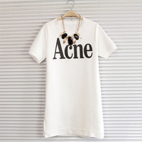 FSJ S-XXL Letters Printed Long Design Cotton T-shirts Dress Side Slit Good Quality Women's Loose Casual Camisas Vestido In Stock