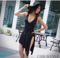 Free shipping New sexy black girl  Skirt-piece swimsuit push up one piece bikini women swimwear quick dry brand design