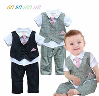 2015 New Summer Fashion Tie Baby Boy Clothes ( Gentlemen Baby Boy Shirts + Pants ) Baby Boy Casual Suit Newborn Baby Clothes Set