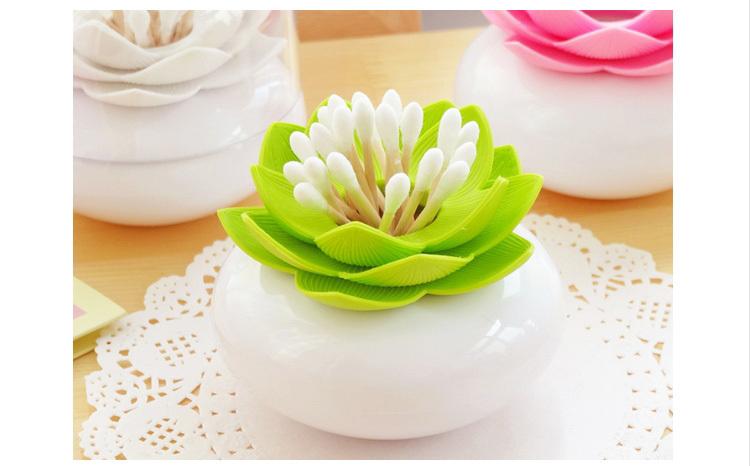Families Stylish Chic Lotus Flower Cotton Bud Holder Toothpick Case Cotton Swab Box Vase Decor(China (Mainland))