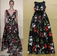 European Brand Designer Women 2015 Summer Sexy Deep V-Neck Vintage Floral Print Runway Long Dress Party A-Line Dresses To Floor