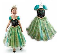 Retail 1Pc New 2015 new 2015 cartoon Elsa costume princess dress sequined cartoon costume baby girls dresses