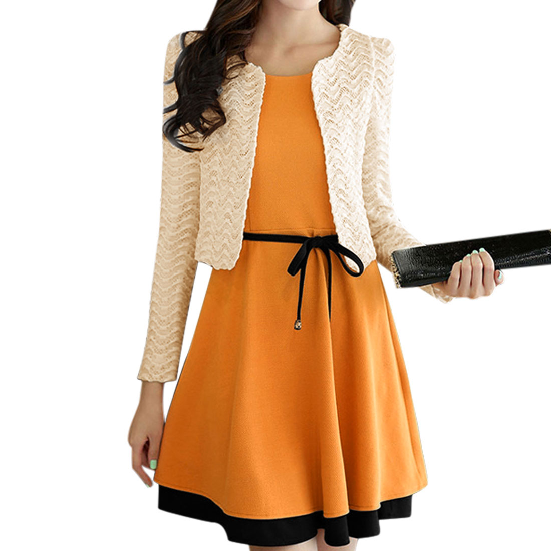 5289 Women Round Neck A-Line Dress w Waist String w Open Front Lace Jacket w Brooch(China (Mainland))