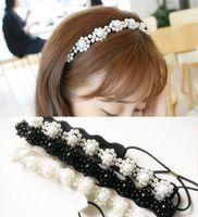 2015 New Arrival freeshipping wholesale fashion handmade beads pearl elastic headband wedding hair accessories