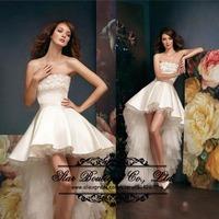 2015 Romantic Vestido De Noiva Strapless Front Short Long Back Beach Wedding Dresses Bridal Dress