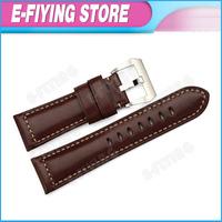26mm Plain Genuine Leather Watchband Strap 22mm Pre-v Tang Buckle for Panerai 45mm 46mm 27mm Case Mens Wrist Bracelet Dark Brown