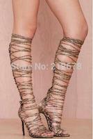 Sexy Snake Skin Belt Knee Boots Tassel Cutout Bandage boots for women Tassel boots