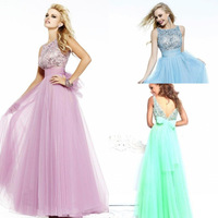 New Luxury Dazzling Beads Tulle A-Line Party Evening Dresses Scoop Sleeveless Floor-Length Pageant Prom Dresses Custom Made