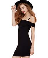 Vestido De Festa 2015 Women Dress adjustable strap Slash Neck Black Dresses Off-The-Shoulder dress Evening Party Dress Vestidos