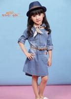 2015 girls fashion belt denim dresses kids 100% cotton long sleeve one piece dress children popular spring clothes 5pc free ship