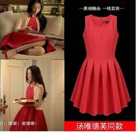 Red/black women basic dress europe style 2015 new fashion spring autumn sleeveless o-neck plus size XXXL cotton dress F0954 HOT