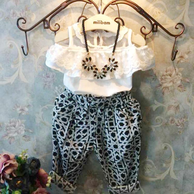 AliExpress.com Product - Summer baby girls lace blouse shirts+fashion haren pants 2pcs clothes set children's clothing kids roupas infantil meninas