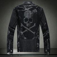 2015 New fashion brand men's washed leather motorcycle leather punk skull Diamond leather jacket . Free Shipping