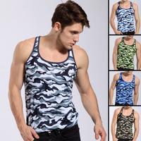 2015  hot camouflage style design brand new Men's fashion Tank Tops stripe Sport Vest gym vest breathe free sexy veat 5 colour
