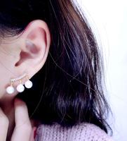 Korea elegant arc flash created diamond tassel pearl earrings gold-plated earrings