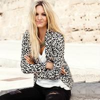 2015 spring new women Slim small suit jacket leopard print jacket