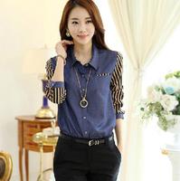 Fast/Free shipping 2015 Fashion Korean Spring Clothing Casual Blusas Femininas Striped Patchwork Blouse Women Blouses C1385