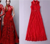 2015 Newest Women Summer Red Purple Maxi Long Turn-Down Collar Sleeveless Lace Dress Europe Style Floor Dress S-L Free Shipping