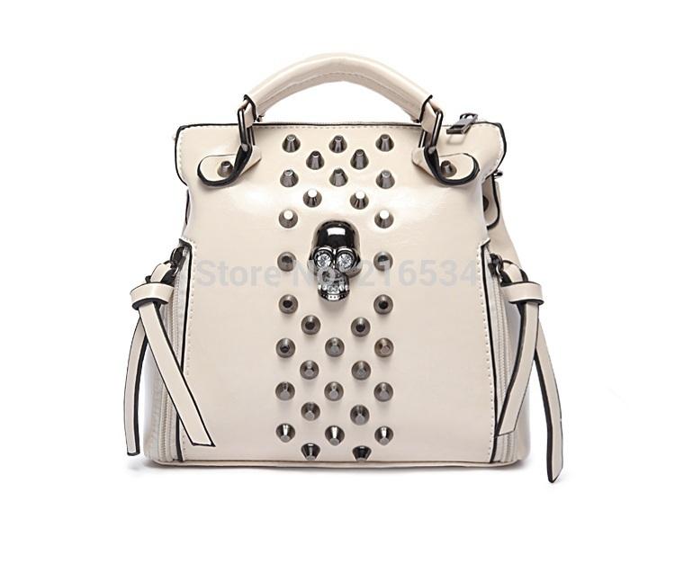 Fashion new arrival Women's PU handbag, beige skull rivet deco shoulder bag, vintage OL messenger bag, more colors(China (Mainland))