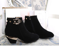 Boots female 2014 casual genuine leather female boots single boots with the boots plus size boots martin boots
