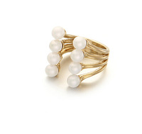 Korean designer style small fragrant wild wind pearl ring opening can be adjusted