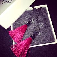 Korean black pentagram dark red tassel earrings earrings long section