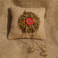 top grade handmade forest series Linen with Button pillow for wedding ring dark khaki ring pillow wedding 12*12cm