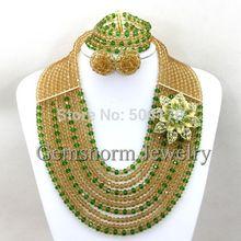 2015 Latest Fashion Women Costume Jewelry Set Nigerian Wedding Crystal Necklace Set Hot Sale Jewelry Set