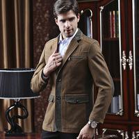 UDOD Brand Autumn Winter Mens Blazers Business Stylish Patchwork Men's Casual Suits Jacket Cotton and wool  L XL XXL XXXL BN1409
