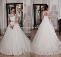 Vestidos De Novia Scoop Neck A Line Lace Wedding Dress With Long Sleeve White Tulle Bridal Gown Plus Size 2015