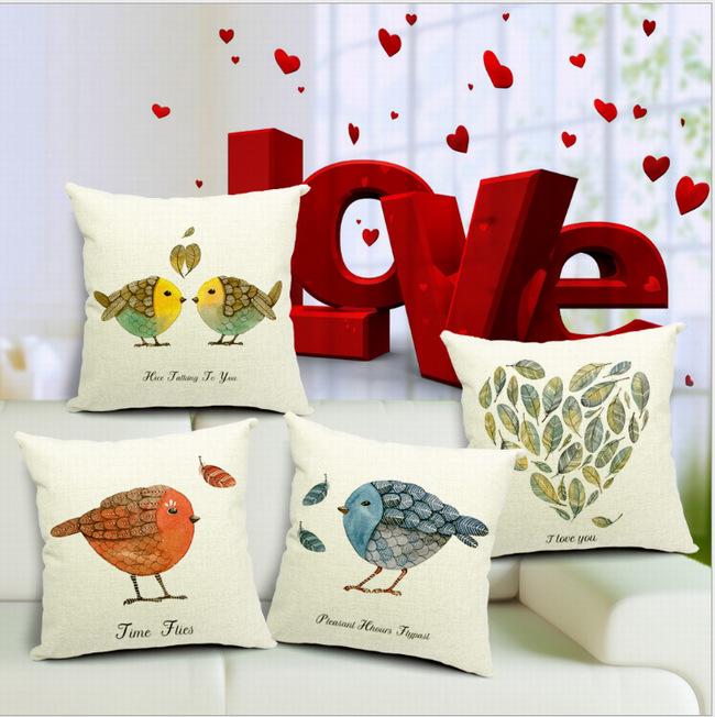 45 * 45 cm aves folhas coração Cotton Linen Sofa cadeira cama fronha capa de almofada DIY decoração do Hotel decorativo quadrado(China (Mainland))