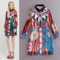 Best Quality New Fashion Spring Summer Chiffon Silk Dress 2015 Women Geometric Print Long Sleeve Casual Chiffon Dress Freeship