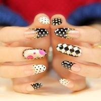 Delicate black white grid false nails art decoration,woman false nails manicure art ornament display,4.20816.Free shipping