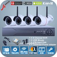4PCS 1080P 2.0Megapixel HD IR Night Vision Mini WIFI Camera ONVIF H.264 8 Channel NVR Bullet Cameras Video Surveillance System