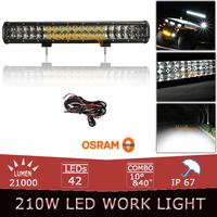 210W 20 Inch OSRAM Offroad LED Light Bar Auto SUV Truck 4x4 AWD LED Driving Light Headlight Hyper Spot Flood Combo Beam Lamp