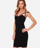 2015 New fashion ladies sleeveless black backless slim pencil dresses women's clubwear dresses 114