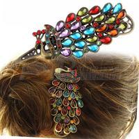 Free Shipping 1 Pcs New Fashion Ladies Hair Clip Vintage Colorful Rhinestone Peacock Barrette Hairpin