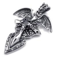 Men's 316L Stainless Steel Titanium Rock N' Roll Gothic Pterosaur Biker Necklace Pendant M072410