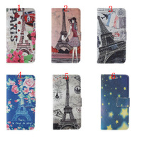 Eiffel Tower roses flowers Card slot Leathe Case For iphone6 iphone 6 plus wallet Leather Case For iphone 6 plus