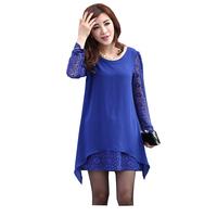 FS-3013 Plus Size Women's Dresses Spring Summer 2015 Chiffon Patchwork Long Sleeved Dress For Woman Blue 5XL