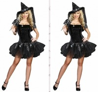 instyles free shipping walsonstyles s-2xl plus size Women New Style Sexy Dark Demon Witch With Hats Halloween Costume Party Dres