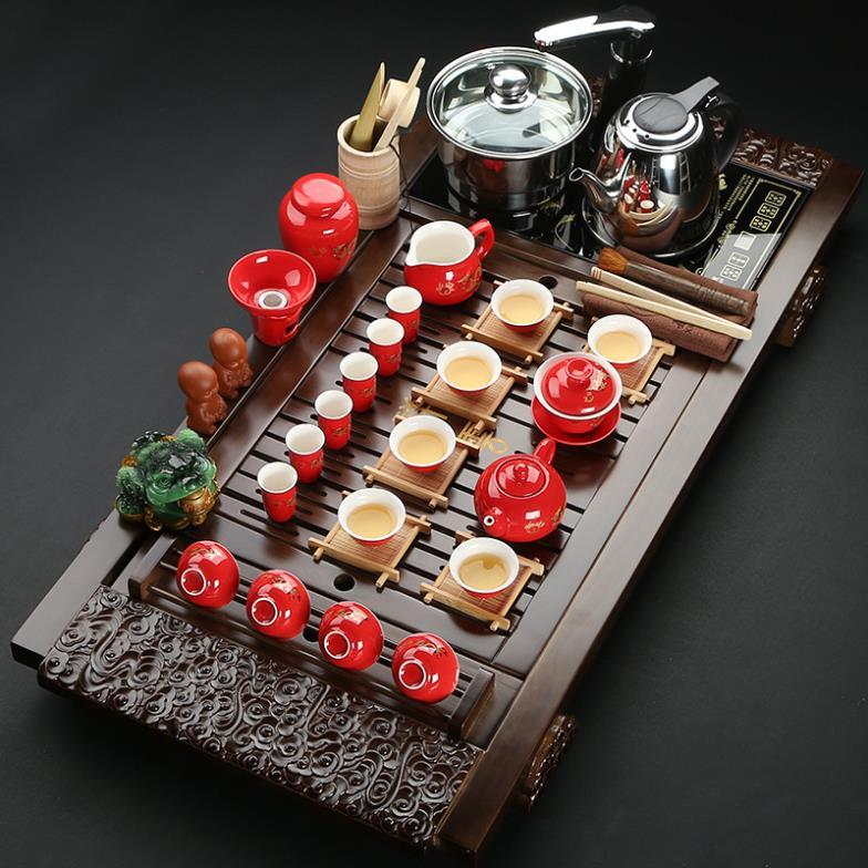 Tea set four wood tea tray cooker clouds ceramic gifts purple kung fu tea sets purple