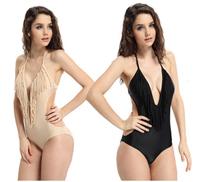 2015 Swimwear Sexy Lady Padded Boho Fringe top sexy fringe swimsuit bathing suits One Piece swimsuit  LI0078