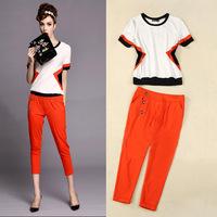 Fashion hit color casual women's suits, short-sleeved T-shirt + orange pants leisure suits