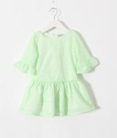 2015 Girls Half Flare Sleeve Pattern Dresses Kids Brand Summer Dress  6 pcs/lot , White Light Blue Pink Yellow Wholesale