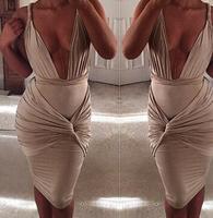 2015 new summer Sexy V-neck Party $Club Dress  backless sheath bandage dress  TPS064