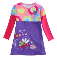 """2015 Spring """"Need a Cuddle"""" floral pattern baby girl dress pink purple casual dresses embroidered flowers vestidos kids clothes"""