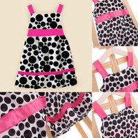 Nice Lovely Girls Knee-Length Sleeveless Dress Bowknot Cotton Polka Dot Sundress