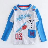 2015 New Spring 100% Cotton Tees Boys Gentleman T-shirt Baby Long Sleeve t-shirts Kids Olaf tshirts Children Cartoon Clothing